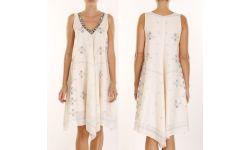 Robe Longue Coton Col Brode/Perle