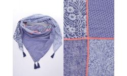 Carre Coton 4 Imprimes+Ruban+Pp Fluo