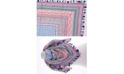 Carre Coton Mosaique Cadre Brode +POMPON