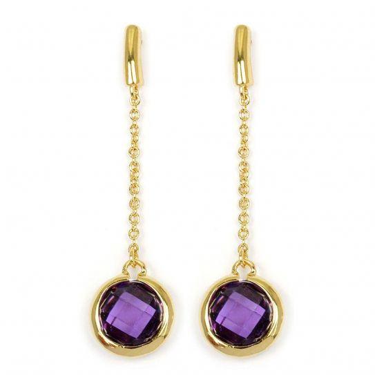 Boucle d'oreille plaqué or violet