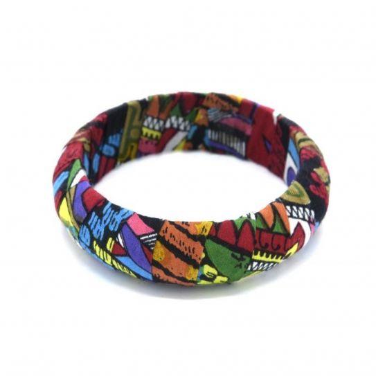 Bracelet Ridige Moyen Enveloppe De Tissu Multi foncé