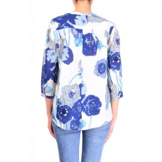 Chemise Coton Imprime Col Mao Bleu clair