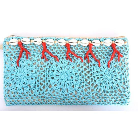 Pochette Paille/Crochet/Corail