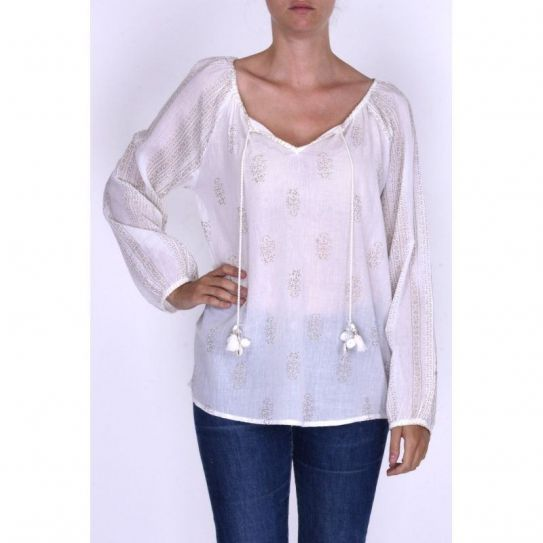 Blouse Coton Block Print + Liens Pompons Blanc / Ivoire