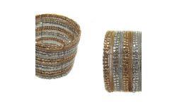 Bracelet Semi-Rigide Metal/Perles