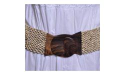Ceinture Elastique Coco Large Blanc / Ivoire