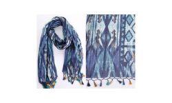Chech Coton Imprime Wax+Box Franges Bleu foncé