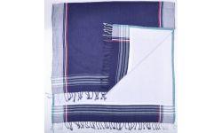 Kikoy Uni Encadre Motifs/Eponge Bleu foncé