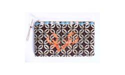 Pochette Batik & Cowry + Broderies Orange clair