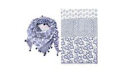 Carre Coton 3bandes Imprimes+Franges