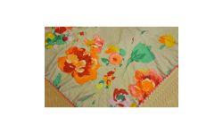 Carre Coton Imp Fleurs+Pomp/4tassel