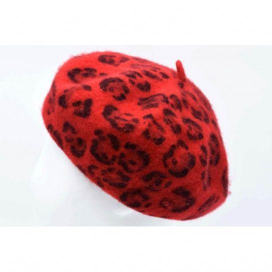 Beret Laine/Acrylique Motif Leopard